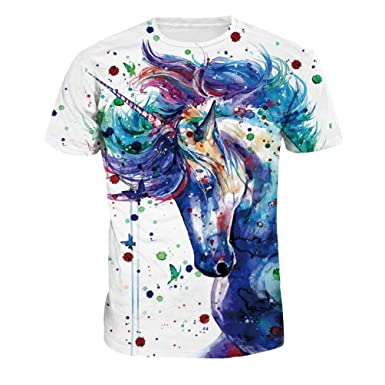 magasin en ligne e801b a7cfa ZKOOO Unisexe T-Shirt à Manches Courtes pour Femme Homme Lovers Licorne  Impression Tee-Shirts Hauts Tops Personnalisé Eté