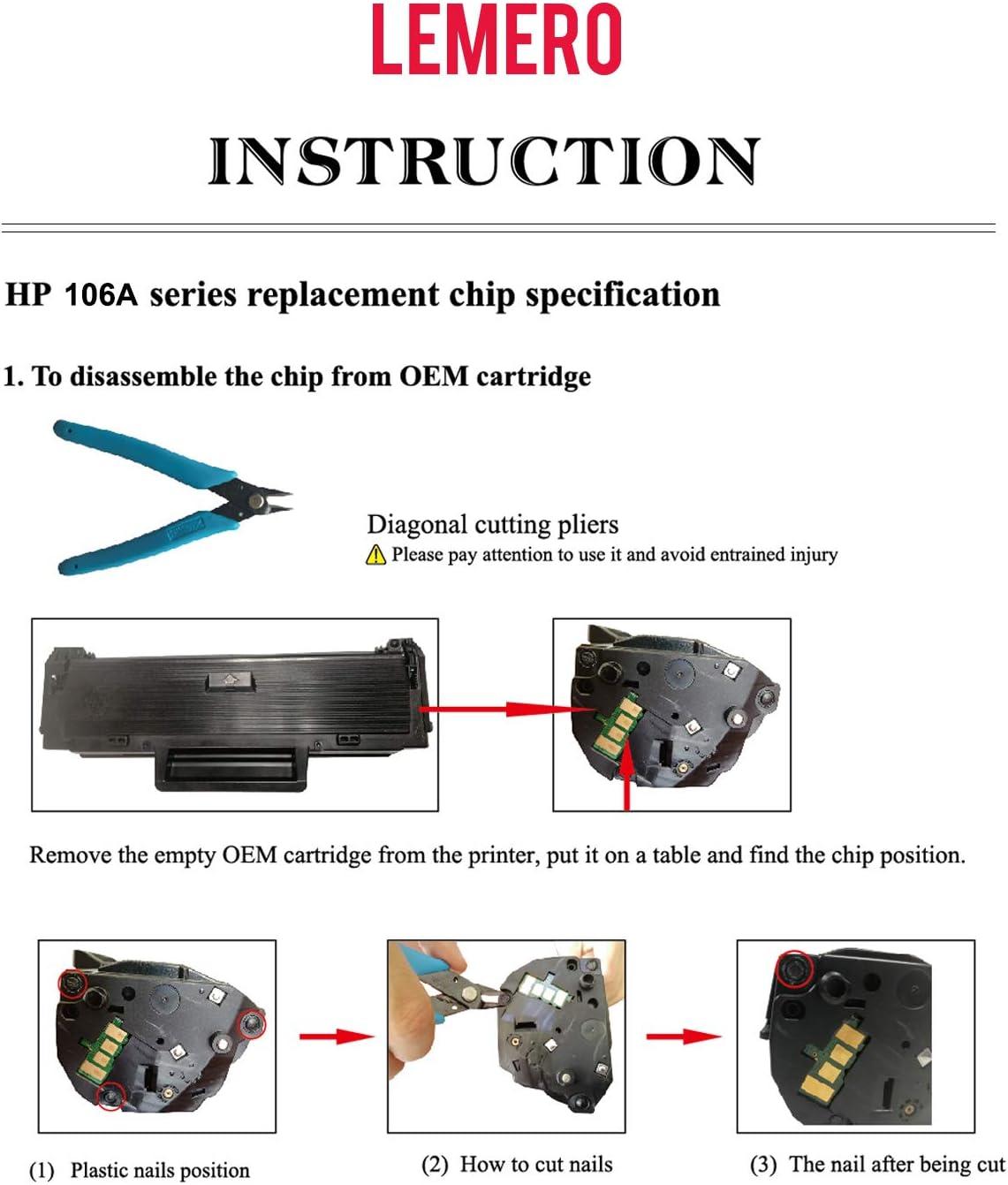 LEMERO 2 Compatibili Toner per HP 106A W1106A per HP Laser MFP 135a 135w 135r 137fnw HP Laser 107a 107w 107r senza Chip