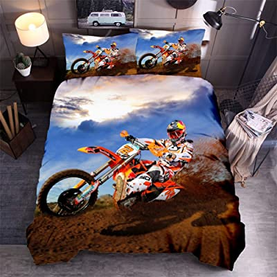 Sanhai Funny Duvet Cover 3D Printed Off-Road Motion Sport Game Soft Microfiber Quilt for Kids Teens Girls Boys,Motocross,Queen(90x90in): Home & Kitchen