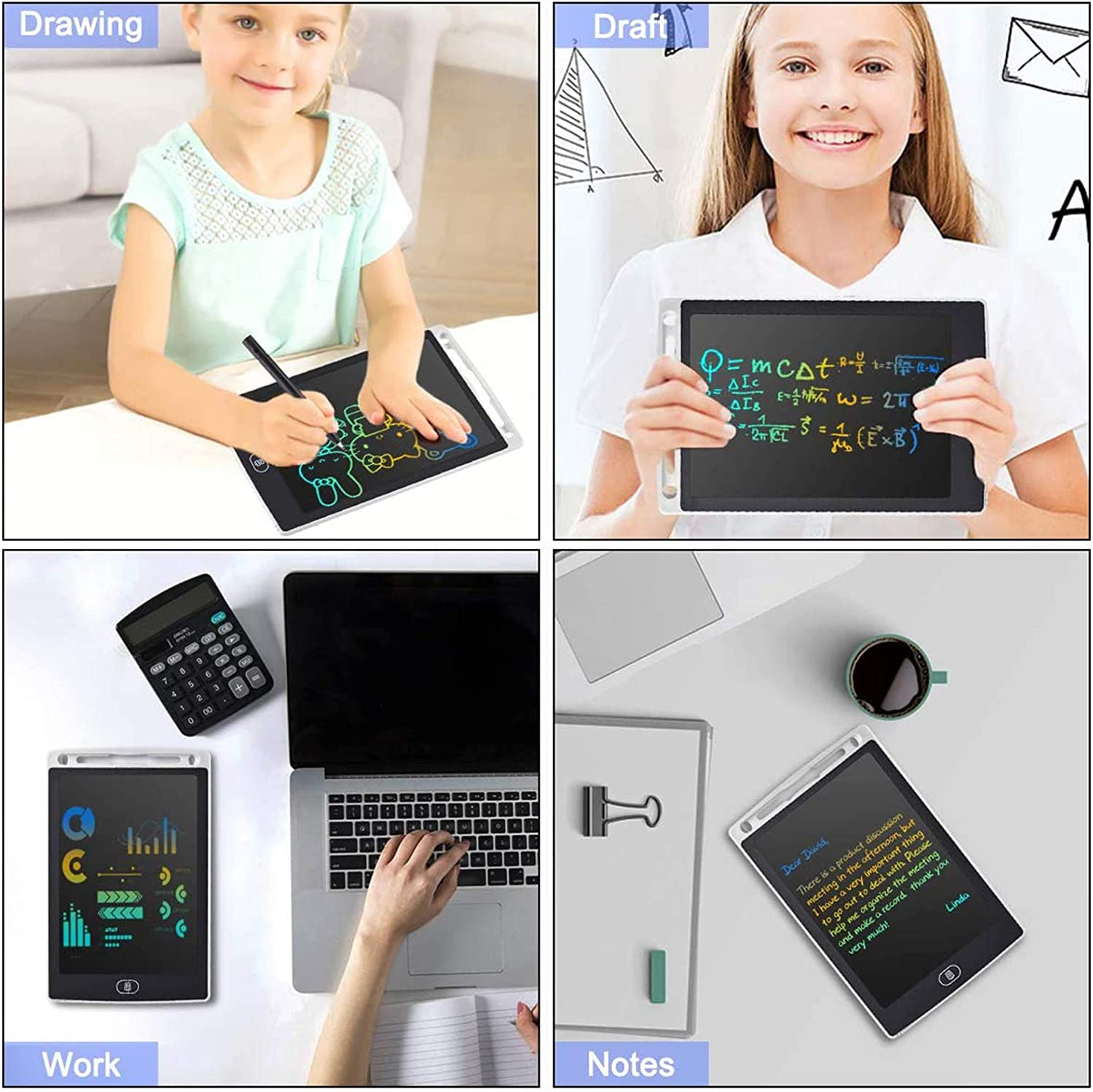 LCD Writing Tablet 12 Inch Colorful Drawing Tablet for Kids Electronic Writing Drawing Pads Portable Doodle Board Gifts for Kids Office Memo Home Whiteboard