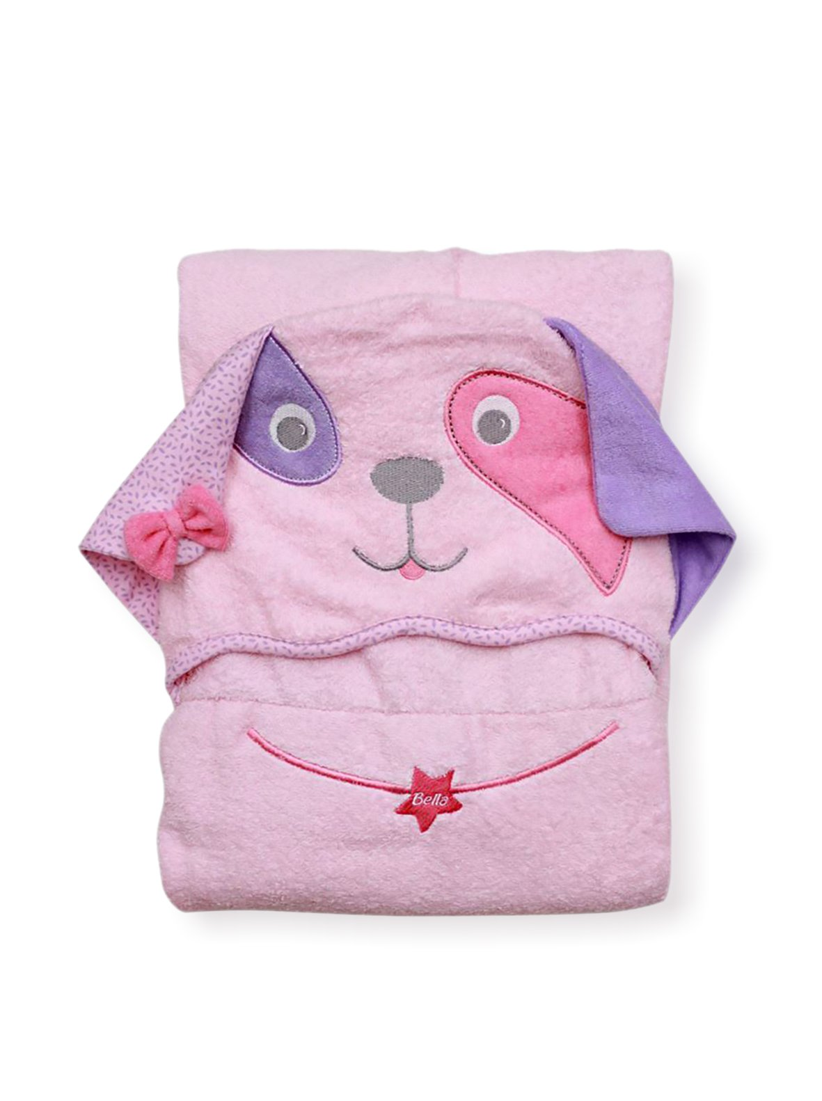Extra Large 40''x30'' Absorbent Hooded Towel, Pink Dog, Frenchie Mini Couture