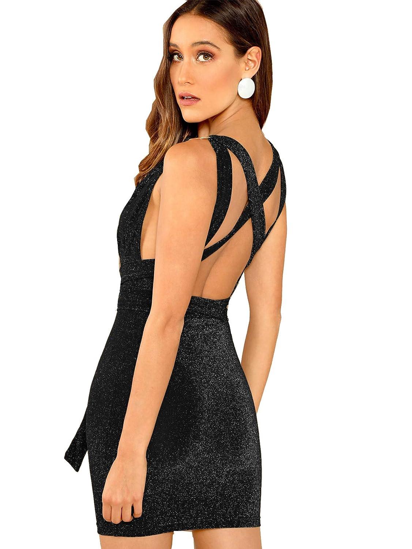 Black Verdusa Women's Plunging Neck Criss Cross Back Glitter Bodycon Dress