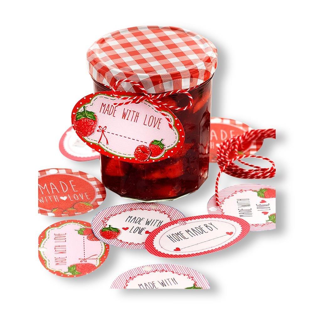 4 x HC –  Commercio 931135 etichette per vasetti per conserve con ciondolo & nastro decorativo 20 pezzi HC-Handel
