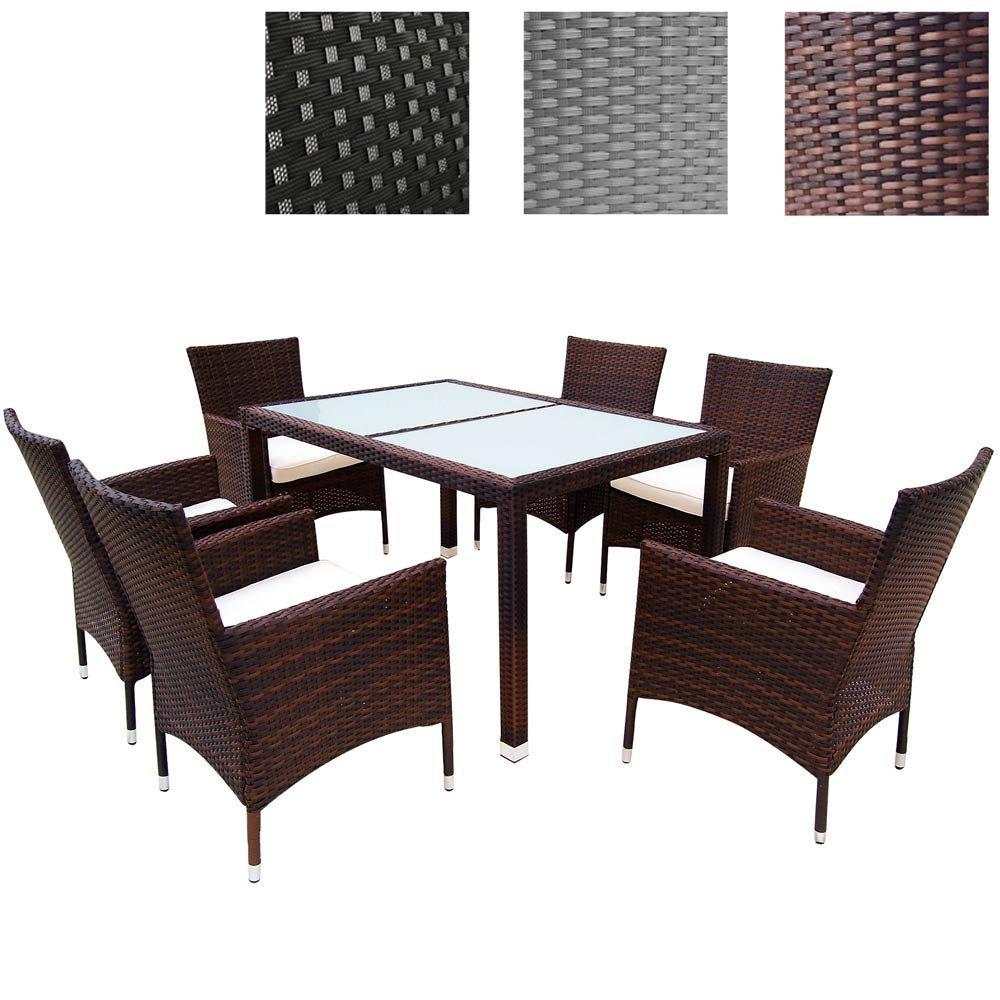 MIADOMODO Elegante 6+1 Polyrattan Aluminium Sitzgarnitur Rattan Gartenmöbel Set in der Farbe Ihrer Wahl inkl. Kissen und 2 Glasplatten in Schwarz oder Milchweiß (Milchweiß, Braun)