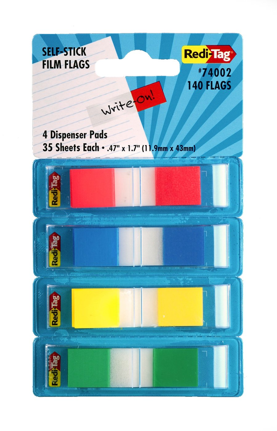Yellow with Red Print 74004 Redi-Tag Sign Here Printed Pop-Up Page Flags 1 x 1.7 Inches 2 Dispensers per Pack 100 Flags Total