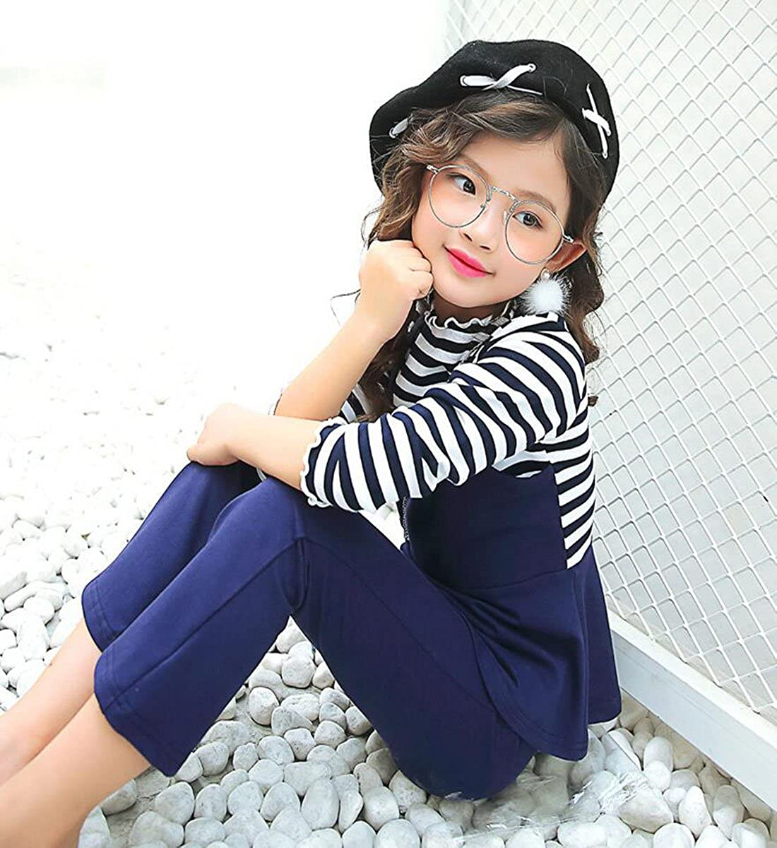 Girls Long Sleeve Clothing Set Cotton Color Striped Two-Piece Suits