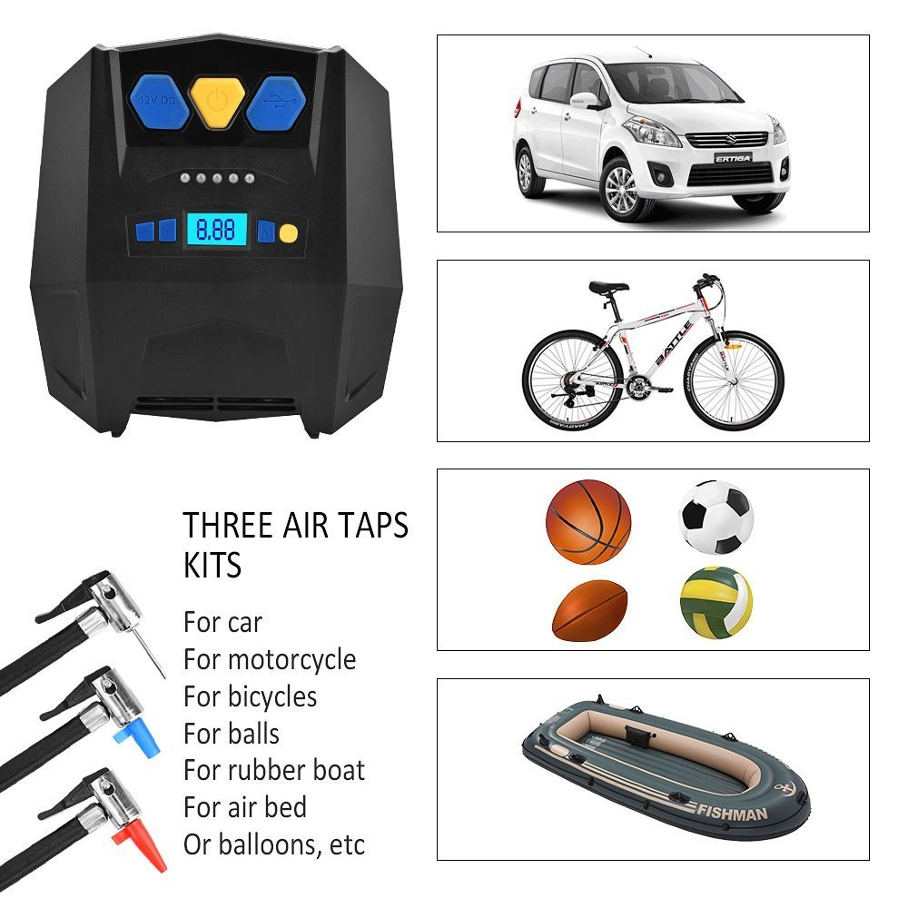 BASEIN Portable Air Compressor Pump with LED Light and Gauge 12V Electric Air Pump for Car Tires Balloons Pool Toys Bikes Balls Digital Tire Inflator