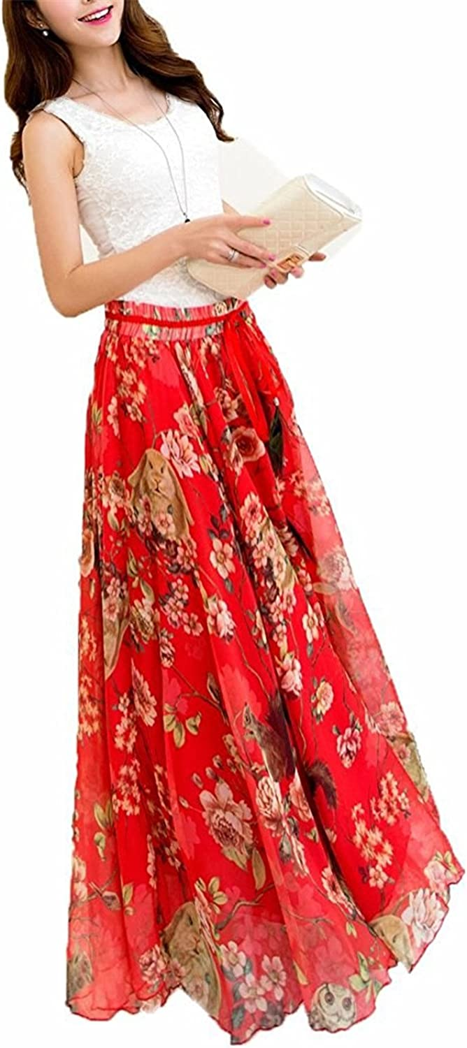 Robert Reyna Pretty Womens Blending Chiffon Retro Long Maxi Skirt Vintage Dress
