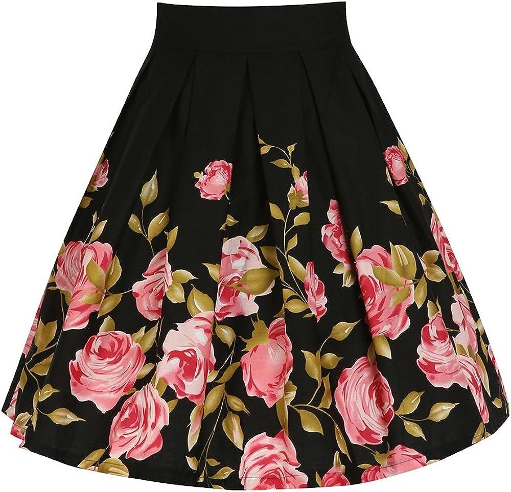 Vivibridal Women's A-Line Vintage Pleated Floral Print Midi Skirt