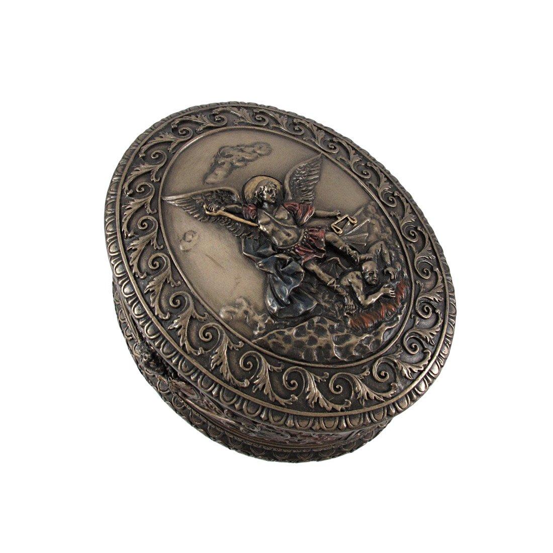 Michael Bas Relief Oval Trinket Box USI Veronese Ornate Bronze St