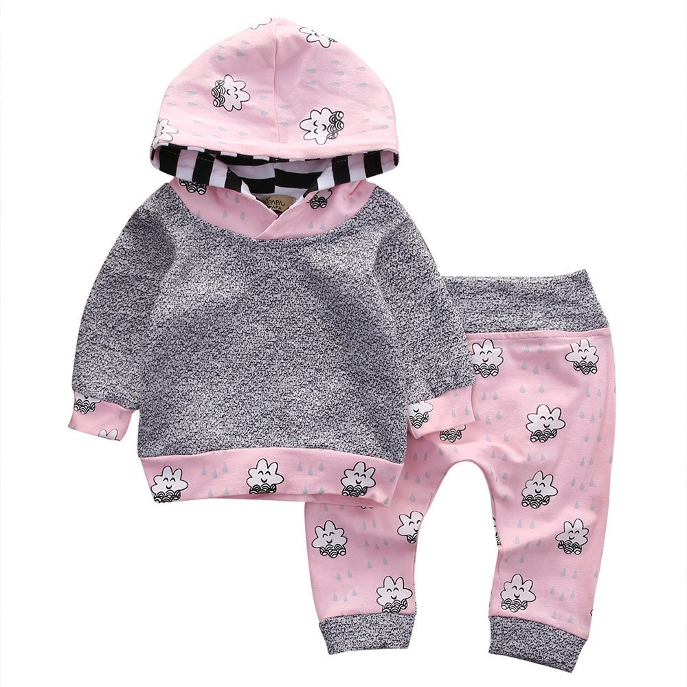 ❤️Mealeaf❤️ Baby Boys and Girls Clothes with Toddler Infant Baby Girl Clothes Set Striped Cartoon Hooded Tops+Pants Outfit (0-3 Months Old, Gray) meal-leaf