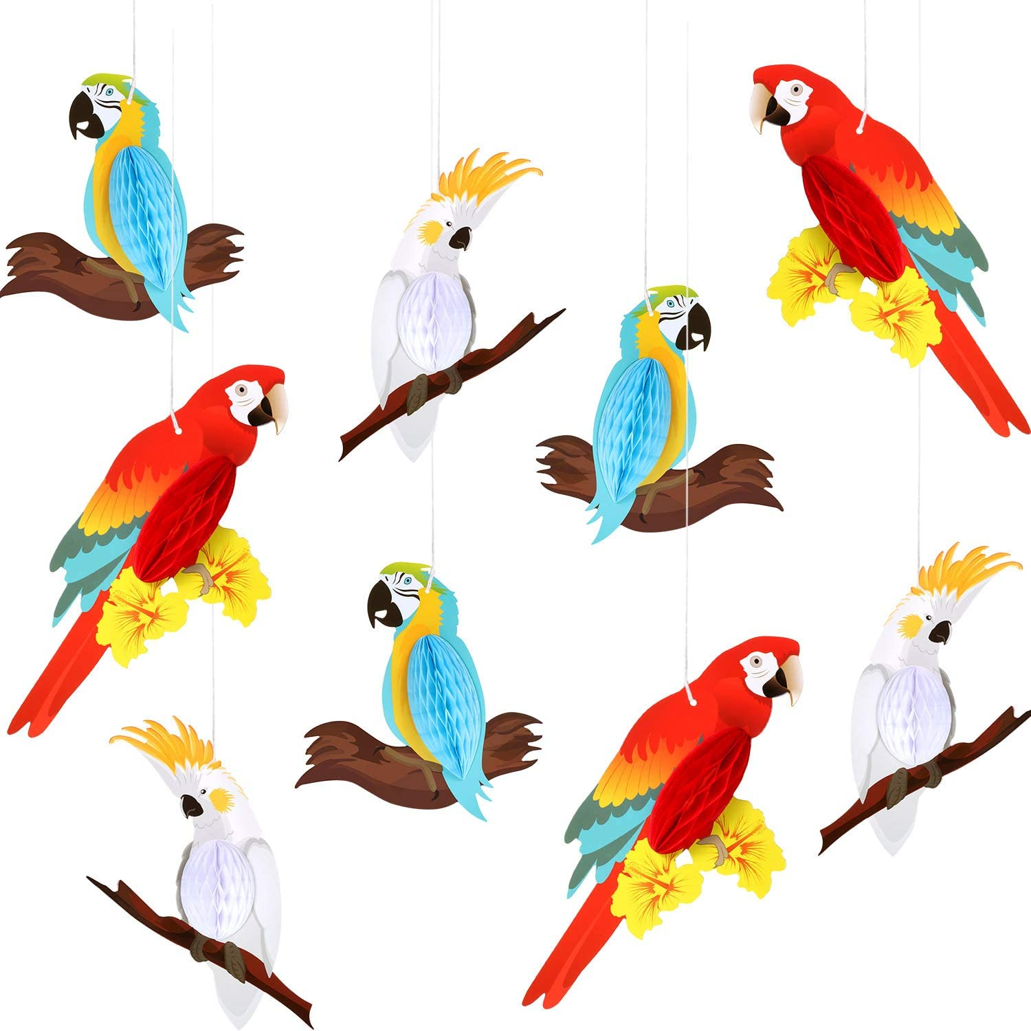 9 Pieces Luau Tropical Birds Parrot Honeycomb Party Paper Honeycombs Hawaiian Summer Party Hanging Decorations Beach Wedding Birthday Favor