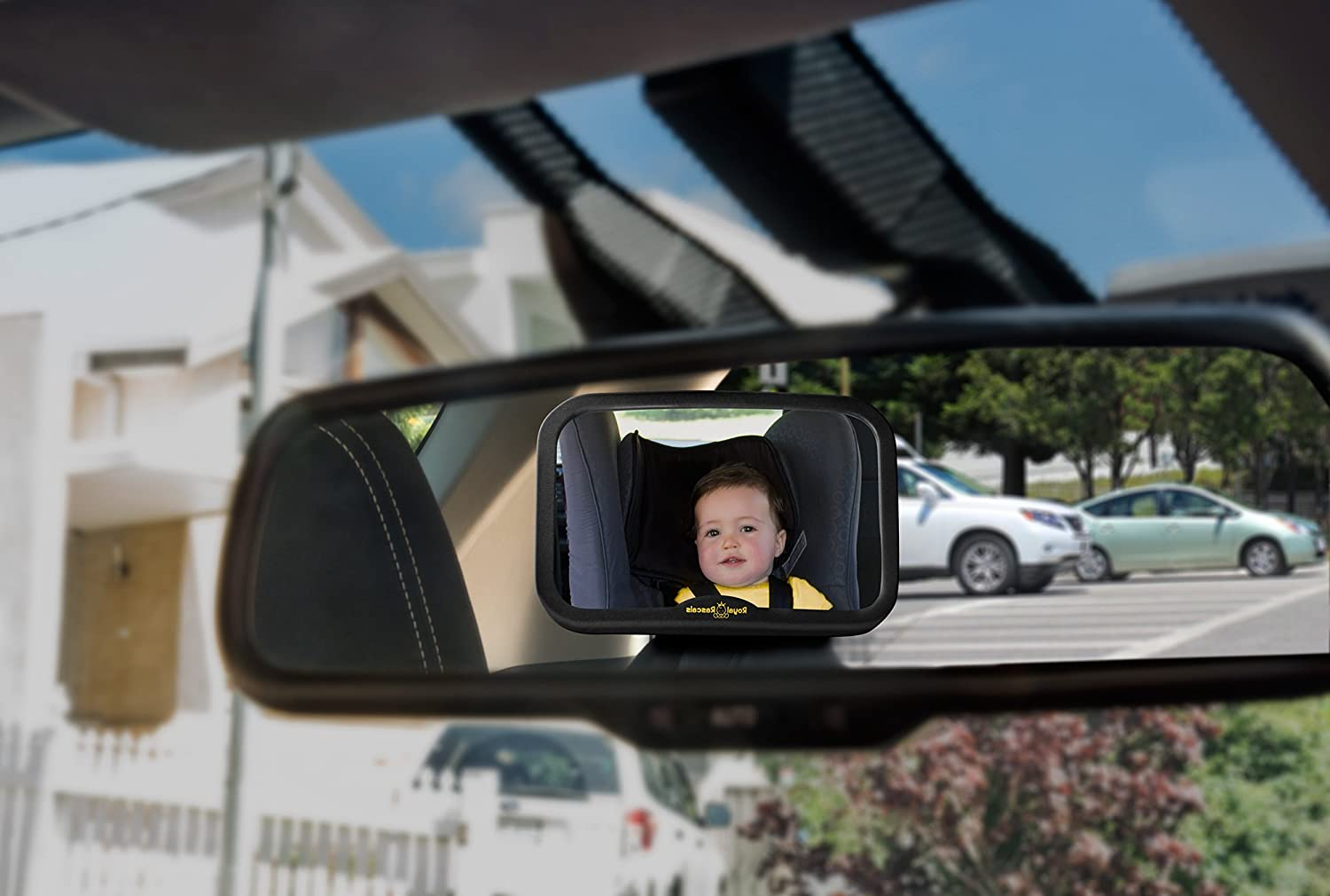 Rear View Baby Car Seat Mirror to See Rear Facing Infants and Babies ROYAL RASCALS Baby Car Mirror for Back Seat Shatterproof Baby Mirror for Car Updated Premium Model Safest Yellow Frame