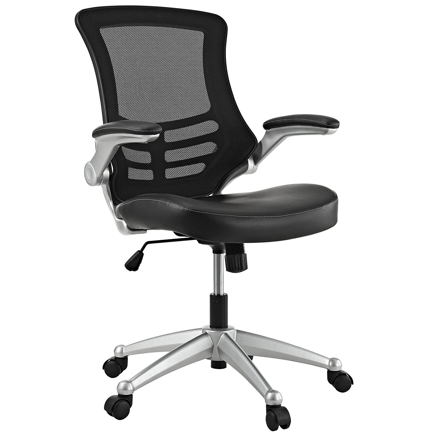 Black and white office chair - Amazon Com Modway Attainment Office Chair With Black Mesh Back And Leatherette Seat Kitchen Dining