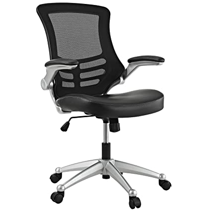 modern desk chair. Modway Attainment Mesh Back And Black Vinyl Seat Modern Office Chair With Flip-Up Arms Desk