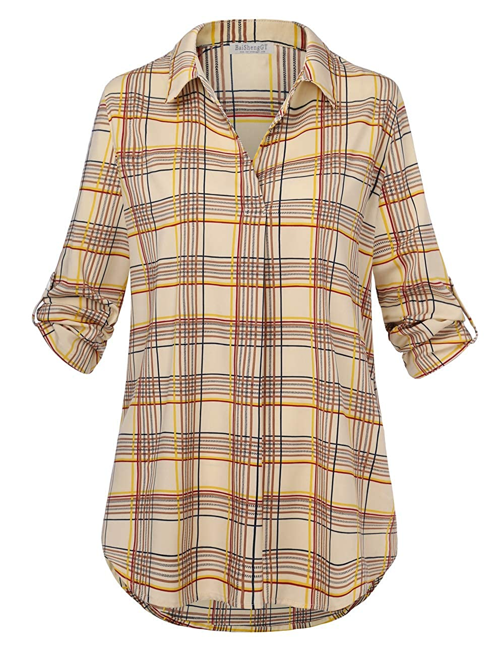 f891d1a6c83 Loose fit solid or plaid tunics for women for leggings. We love how comfy  the 3 4 roll tab sleeves and v-neck blouse chic this piece ...