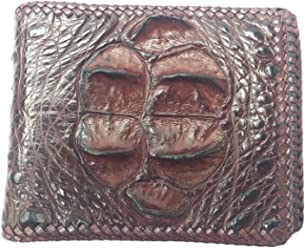 NEW GENUINE 100 % CROCODILE ALLIGATOR HORNBACK LEATHER HARD ROCK HANDMADE BROWN BIFOLD WALLET