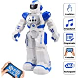 Sikaye Remote Control Robot For Kids Intelligent Programmable Robot With Infrared Controller Toys,Dancing,Singing, LED Eyes,Gesture Sensing Robot Kit For Childrens Entertainment (Blue)