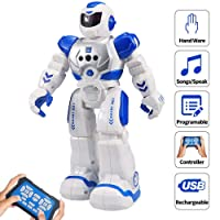 (Blue) - Sikaye Remote Control Robot for Kids Intelligent Programmable Robot with Infrared Controller Toys,Dancing,Singing, LED Eyes,Gesture Sensing Robot Kit for Childrens Entertainment (Blue)