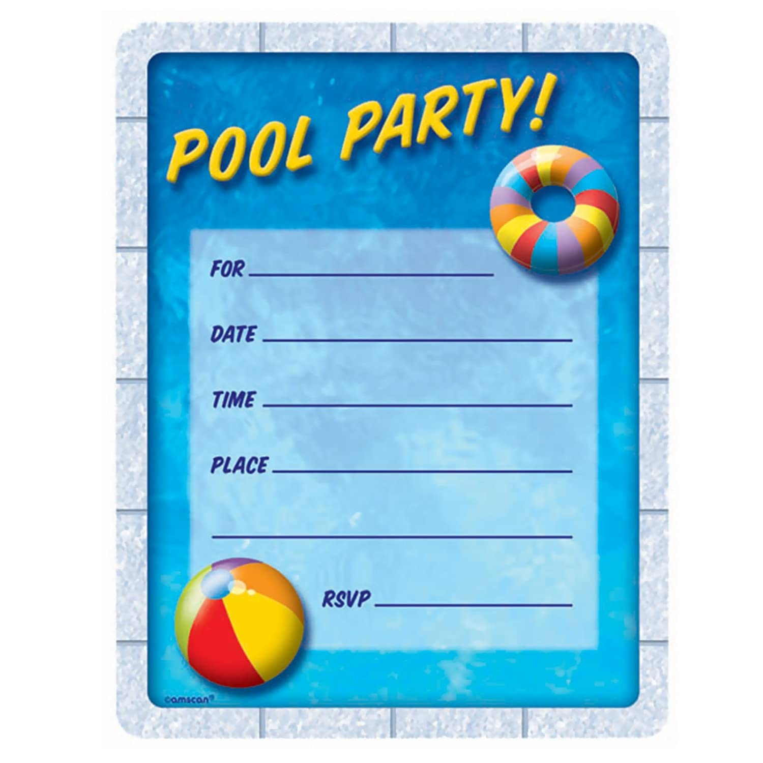 Amazon Com Pool Party Invitations Party Accessory Toys Games