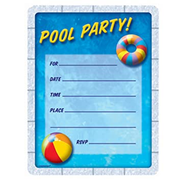 AmazonCom Pool Party Invitations Party Accessory Toys  Games