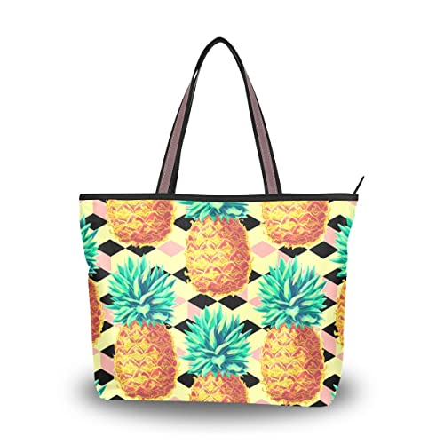 ed8a0f8f59 ALAZA Cute Tropical Pineapples Large Tote Top Handle Shoulder Bags Handbags  for Women Ladies