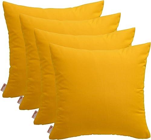 RSH D cor Set of 4 Indoor Outdoor Decorative Pillow 20 x20 – Sunbrella Sunflower Yellow