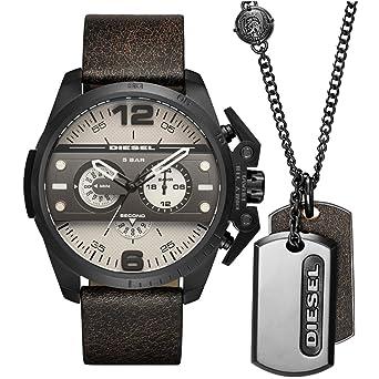 Diesel Montre de quartz homme 48 mm Bracelet en cuir couleur marron dz4416