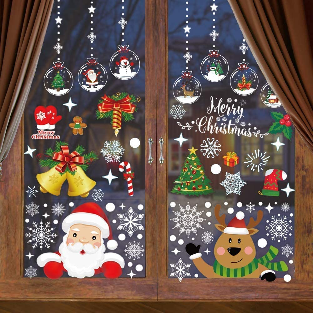 Window Clings Stickers Xmas Snowflake Window Sticker Christmas Decorations Merry Christmas Stickers Decor Window Cling Static with Santa Claus Reindeer for Kids Bathroom - 260 PCS 10 Sheets