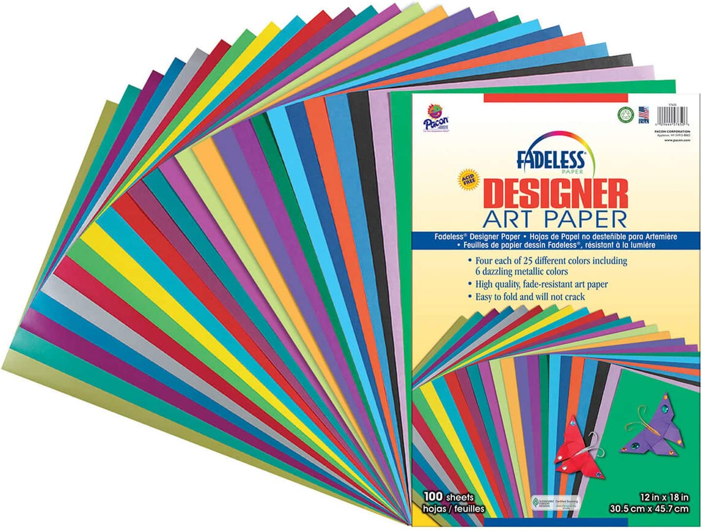 Pacon Fadeless Acid-Free Designer Art Paper, 12 X 18 in, Assorted Color, Pack of 100 : Decorative Paper : Office Products
