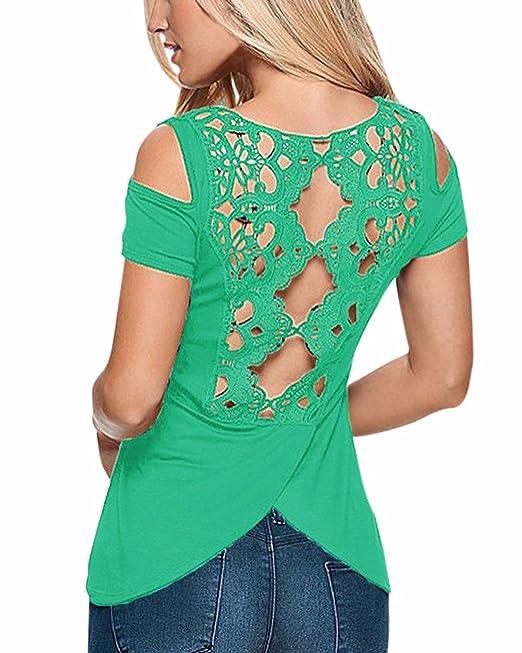 StyleDome Blusa Camiseta Casual Elegante Oficina Algodón Croché Mangas Cortas Abiertas para Mujer Verde EU 52