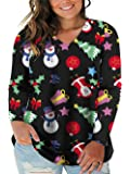 VISLILY Women's Plus Size Tops Christmas Shirts Casual Tee Tunic Shirts Blouses