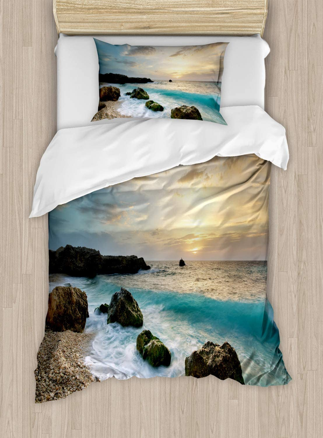 Ambesonne Ocean Duvet Cover Set, Seascape Composition of Nature Rocks Waves Cloudy Sky Rising Sun Beach Photo, Decorative 2 Piece Bedding Set with 1 Pillow Sham, Twin Size, Brown Blue