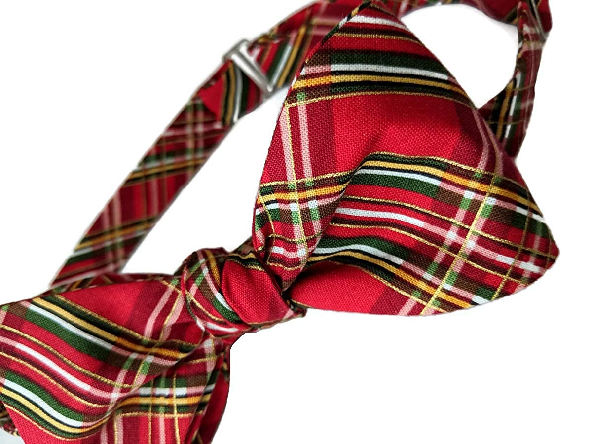 Holiday Bow Ties Mens Bow Tie Holiday Plaid Red Green Gold Metallic Self-tie