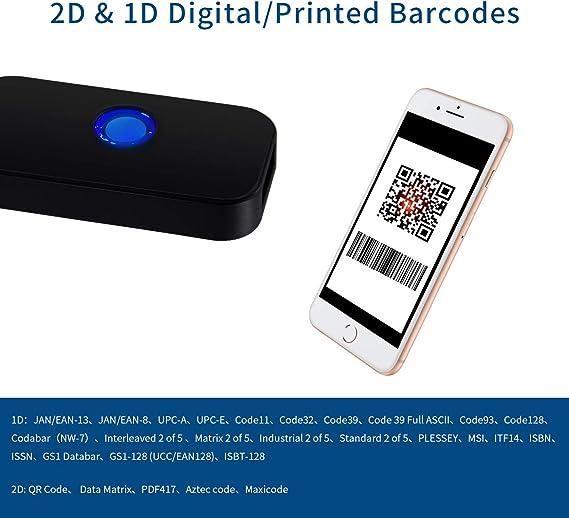 Alacrity Lecteur de Codes-Barres 2D omnidirectionnel Mains Libres USB Lecteur de Codes-Barres pour t/él/éphone Mobile Support de Codes d/écran