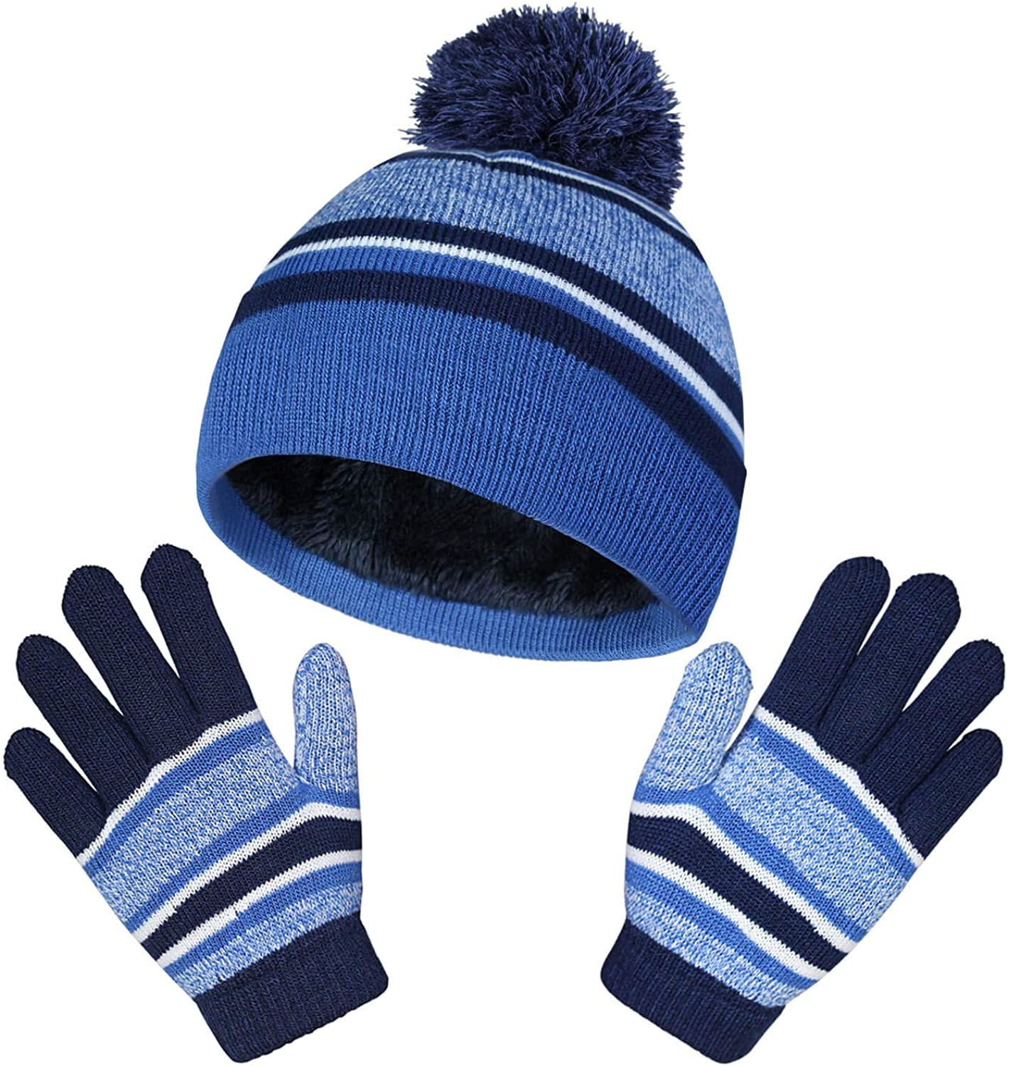 Winter Hats and Gloves Warm Sets Beanie for Boys and Girls Blue: Clothing