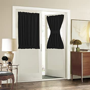 Aquazolax Solid Thermal Insulated Blackout French Door Curtain Panel 1 Piece 54quot X