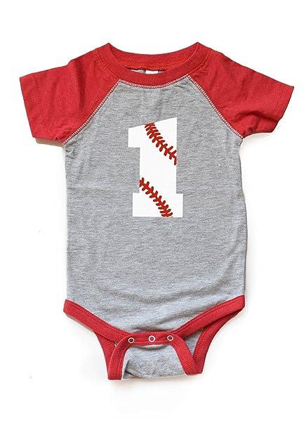 Amazon.com: 1 Cumpleaños de béisbol Body Boy/Girl Primera ...
