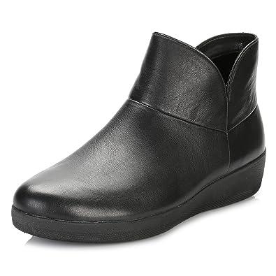 FitFlop Damen Patent Supermod II Ankle Boots Aus Leder - Schwarz, Schwarz, 36