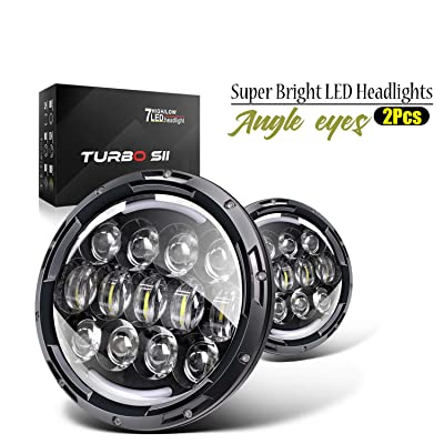 TURBO SII 7 Inch 78W LED Headlights Fit 1997-2020 Jeep Wrangler TJ JK with Hi/Lo Beam, DRL and Amber Turn Signals Round Headlamps (Pair): Automotive