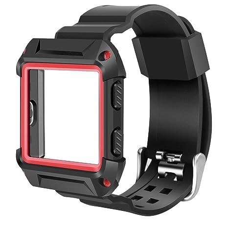 Bracelet de rechange KOBWA pour montre connectée Fitbit Blaze - En silicone souple - Avec trous