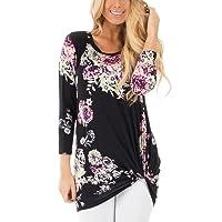 FeelinGirl Women's Floral Print 3/4 Sleeve Casual Knot Blouses Top Shirt