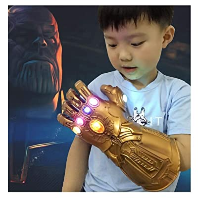 XXF Infinity Gauntlet Gloves PVC Infinity Glove led Infinity Stones Light Up Halloween Party Prop for Kids.: Toys & Games