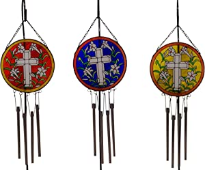 Trinity Church Supply Gifts for Women, Stained Glass Cross Design Hanging Wind Chime, Outdoor Garden Decor, 15 1/2 Inch