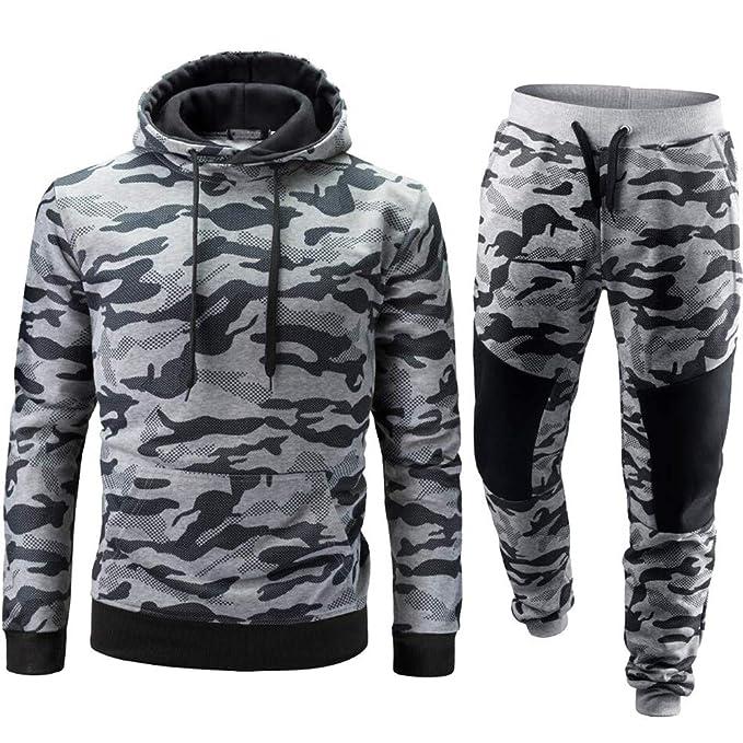 Yvelands Liquidación de Ropa para Hombres, Conjunto de Deportes de Camuflaje para Hombre Active Sweatshirt Top Pants Sets Sports Suit Chándal: Amazon.es: ...