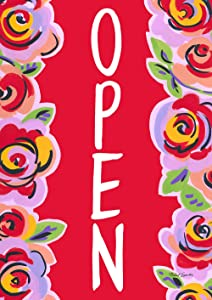 """Toland Home Garden 1012408 Red Floral Open 28 x 40 Inch Decorative, House Flag (28"""" x 40"""")"""