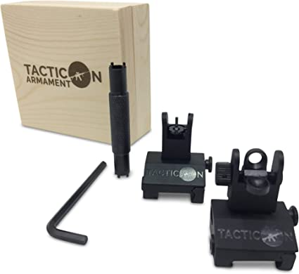Tactical Hunting Iron Low Flip Up Front /& Rear Sight Set Folding Design