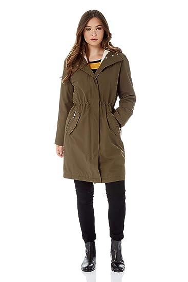 576f86482 Roman Originals Women Waterproof Fur Lined Hood Knee Length Jacket Coat -  Ladies Fashion Casual Everyday Smart Wear in Rain Autumn Winter Outdoor  Padded ...