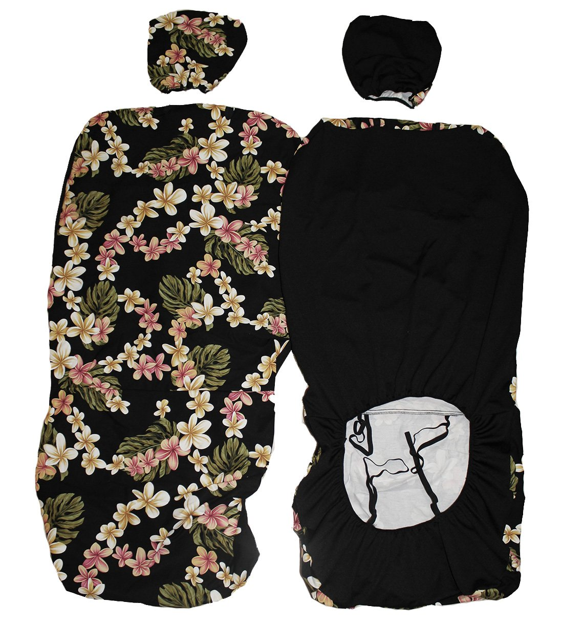 Hawaiian Car Seat Covers >> Hawaiian Car Seat Cover With Separated Headrest Black Plumeria Set Of 2 Front Bucket Seat Covers