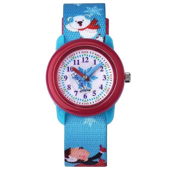 Reloj para niños Reloj para niños Niña Reloj Zeiger para niñas Reloj para niña Reloj pedagógico Hora del Maestro Lectura fácil Nylon KW122 Azul Navidad: ...